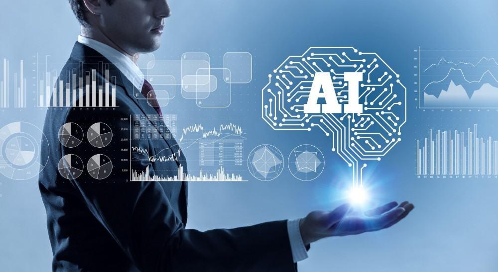 Businessman holding AI cloud